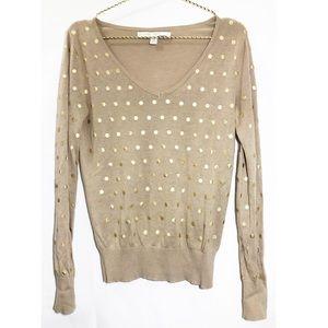 Lauren Conrad Brown / Gold Polka Dot Sweater